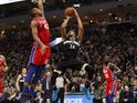 Milwaukee Bucks forward Giannis Antetokounmpo (34) shoots against Philadelphia 76ers forward Al Horford (42) during the second quarter at Fiserv Forum on February 7, 2020