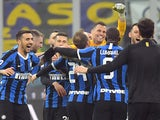 Inter Milan players celebrate after the match on February 9, 2020