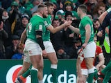 Andrew Conway celebrates scoring for Ireland on February 8, 2020