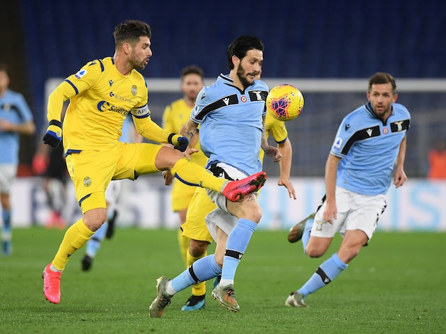 Lazio's Luis Alberto in action with Hellas Verona's Miguel Veloso on February 5, 2020