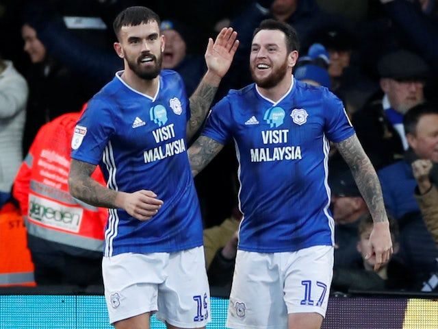 Lee Tomlin celebrates scoring for Cardiff on February 8, 2020