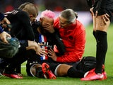Paris St Germain's Neymar on the ground after sustaining an injury on February 1, 2020