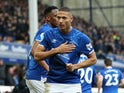 Richarlison celebrates scoring for Everton on February 8, 2020