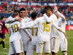 Real Madrid's Luka Jovic celebrates scoring their fourth goal with teammates on February 9, 2020
