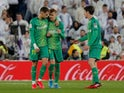 Real Sociedad's Martin Odegaard celebrates scoring their first goal with teammates on February 6, 2020