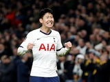 Tottenham Hotspur's Son Heung-min celebrates scoring their third goal on February 5, 2020