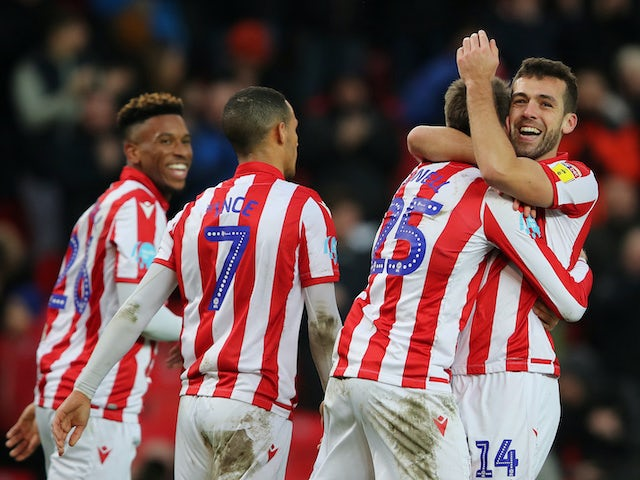 Nick Powell celebrates scoring for Stoke City on February 8, 2020