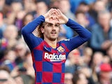 Antoine Griezmann celebrates scoring for Barcelona on February 15, 2020