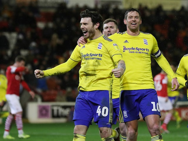 Birmingham City's Scott Hogan celebrates scoring their first goal with teammates on February 11, 2020
