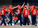 England's Ben Stokes celebrates the wicket of South Africa's Rassie van der Dussen with teammates on February 12, 2020