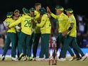 South Africa players celebrate after winning the match on February 12, 2020