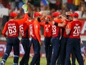 England celebrate their victory over South Africa at Kingsmead Cricket Ground in Durban, South Africa on February 14, 2020