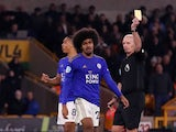 Leicester City midfielder Hamza Choudhury is shown a red card in the Premier League clash with Wolverhampton Wanderers on February 14, 2020