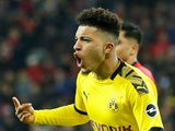 Borussia Dortmund's Jadon Sancho celebrates scoring their third goal which is later disallowed on February 8, 2020