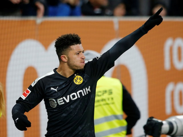 Borussia Dortmund's Jadon Sancho celebrates scoring their third goal in January 2020