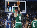 Boston Celtics forward Jayson Tatum (0) shoots against the Oklahoma City Thunder during the first half at Chesapeake Energy Arena on February 9, 2020