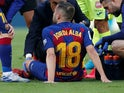 Jordi Alba sits injured on February 15, 2020