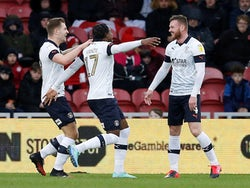 Luton Town's Ryan Tunnicliffe celebrates scoring their first goal with teammates on February 15, 2020