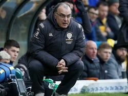 Leeds boss Marcelo Bielsa pops a squat on February 15, 2020