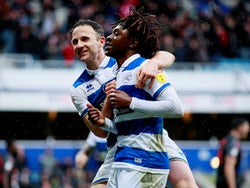 Queens Park Rangers' Eberechi Eze celebrates scoring their second goal with Marc Pugh on February 15, 2020