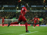 Sadio Mane celebrates scoring for Liverpool on February 15, 2020