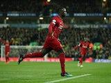 Sadio Mane celebrates scoring for Liverpool on February 15, 2020