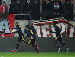 Arsenal's Alexandre Lacazette celebrates scoring their first goal on February 20, 2020