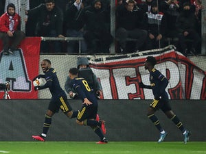 Alexandre Lacazette fires Arsenal to first-leg lead in Greece
