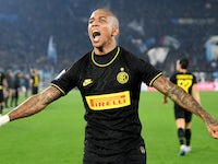 Inter Milan's Ashley Young celebrates scoring their first goal on February 17, 2020