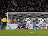 FC Copenhagen's Jens Stage takes a penalty which is saved by Celtic's Fraser Forster on February 20, 2020
