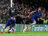 Olivier Giroud celebrates after scoring a goal that was later disallowed in Chelsea's defeat to Manchester United on February 17, 2020