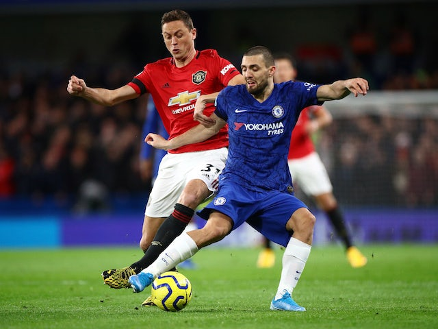 Chelsea's Mateo Kovacic in action with Manchester United's Nemanja Matic in the Premier League on February 17, 2020