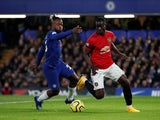 Chelsea's Michy Batshuayi in action with Manchester United's Eric Bailly in the Premier League on February 17, 2020