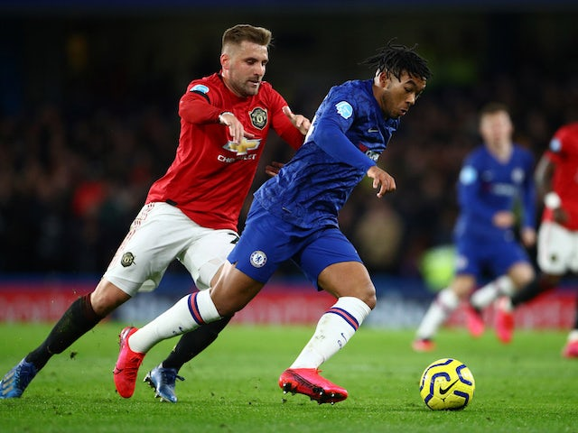 Chelsea's Reece James in action with Manchester United's Luke Shaw in the Premier League on February 17, 2020