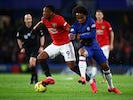Chelsea's Willian in action with Manchester United's Anthony Martial in the Premier League on February 17, 2020