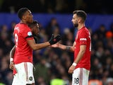 Manchester United forward Anthony Martial celebrates scoring against Chelsea in the Premier League on February 17, 2020