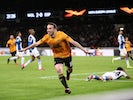 Wolverhampton Wanderers' Diogo Jota celebrates scoring their third goal on February 20, 2020