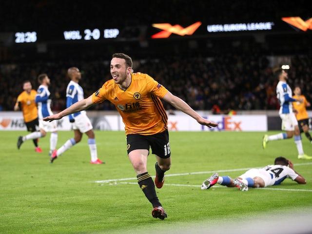 Wolverhampton Wanderers' Diogo Jota celebrates scoring their third goal on February 20, 2020