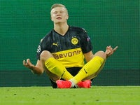 Erling Braut Haaland celebrates scoring for Dortmund on February 18, 2020