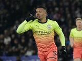 Gabriel Jesus celebrates scoring for City on February 22, 2020