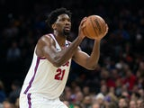 Joel Embiid in action for the 76ers on February 20, 2020