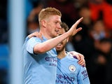 Kevin De Bruyne celebrates scoring for Man City on February 19, 2020