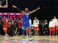 Team LeBron forward LeBron James of the Los Angeles Lakers celebrates in the fourth quarter of the 2020 NBA All Star Game at United Center on February 17, 2020