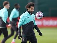 Mohamed Salah during Liverpool training on February 17, 2020
