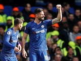 Olivier Giroud celebrates scoring for Chelsea on February 22, 2020