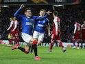 Rangers' Ianis Hagi celebrates scoring their third goal on February 20, 2020