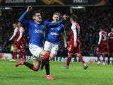 Rangers' Ianis Hagi celebrates scoring their third goal on February 20, 2020