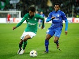 Saint Etienne's Wesley Fofana in action with Gent's Jonathan David in the Europa League on November 28, 2019