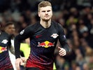 Timo Werner celebrates scoring for RB Leipzig on February 19, 2020
