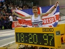 Tom Bosworth celebrates winning the Men's 5000 Metres Walk on February 23, 2020